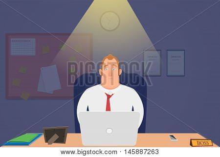 Head tired at night sitting in the office and working. vector illustration. EPS 10