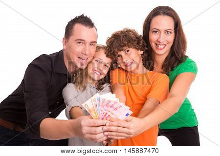 Family of four holding Euro banknotes in their hands