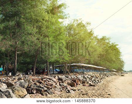 Coast rock dam on the beach to protect coast from coastal erosion