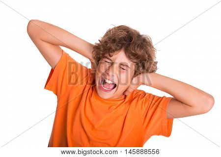 Young kid is frustrated by the noise around him