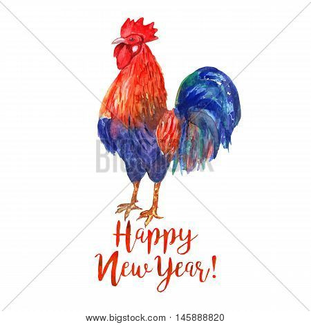 Watercolor color fire cock on white background with text Happy New Year! Chinese calendar Zodiac for 2017 New Year of rooster. Isolated vector bird in watercolor.