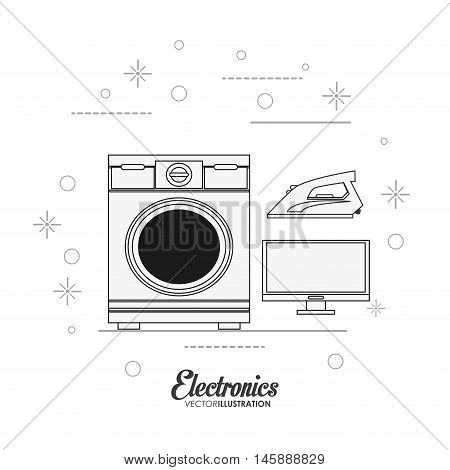 washer iron and tv icon. electronic appliances and supplies for your home theme. Black and white design. Vector illustration