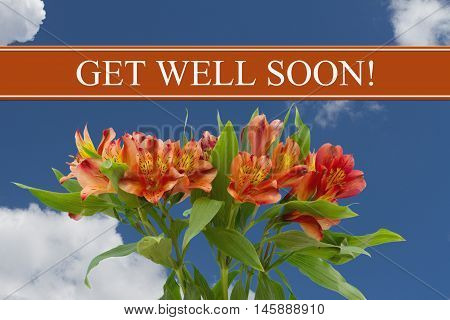 Get Well Soon message with a orange and yellow lilies bouquet with a sky background