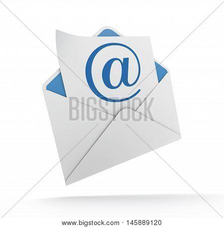 e mail and envelope 3d illustration on white  background
