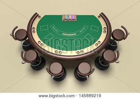 blackjack table and chairs with carpet background
