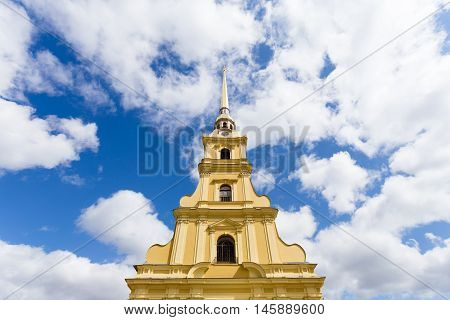 Sunny Paul Cathedral at the Peter and Paul Fortress in St. Petersburg, Russia.