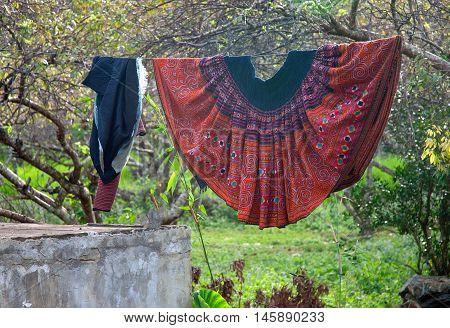 MOC CHAU, VIETNAM, August 28, 2016 dress, women of ethnic Hmong, highland Moc Chau, Son La, Vietnam, dried