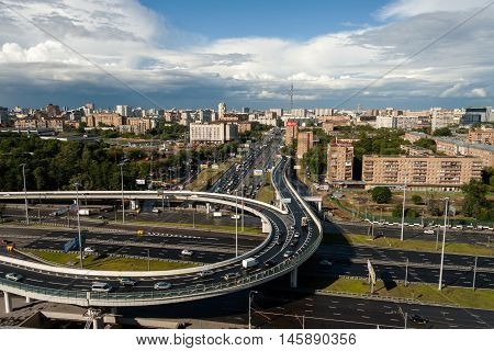 A large road junction in Moscow after rain