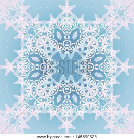 Abstract geometric seamless retro background. Ornate square ornament with ellipses in light gray and white on pastel blue.