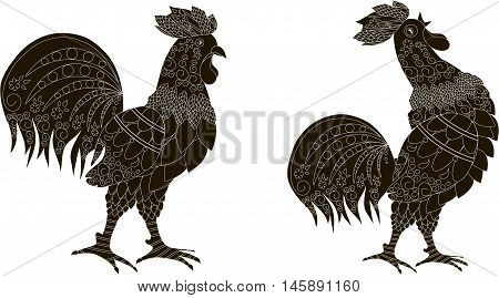 Black silhouettes with white ornaments of a rooster stands and the rooster crows, vector illustration