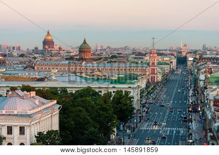 View of the Nevsky Prospekt morning without cars in St. Petersburg from height. On the horizon you can see St. Isaac's Cathedral and Kazan Cathedral.