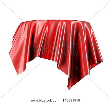 Red satin fabric floating in the air isolated on white background. 3d rendering. Digital illustration.