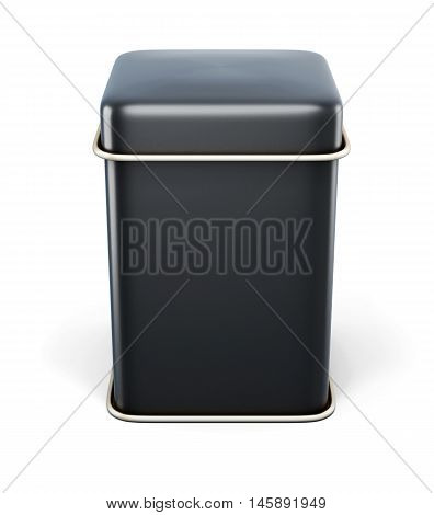 Black Metal Jar For Tea Or Coffee Isolated On White Background. Metal Tin With Place For Your Text.