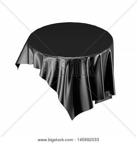 Black Satin Fabric Floating In The Air Isolated On White Background. 3D Rendering. Digital Illustrat