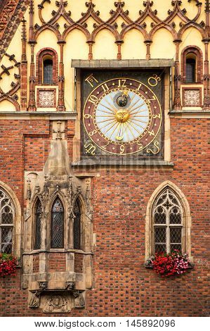 Astronomical clock on the Old Town Hall on Market Square in the Old Town of Wroclaw - Poland.