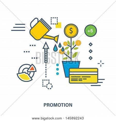 Concept of business development and promotion - growth of investments, increase profits. Color Line icons. Flat Vector illustration