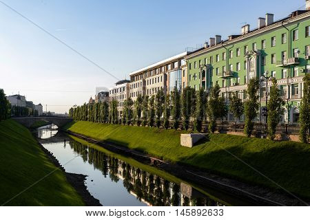 Channel with Bulak River in the center of Kazan, Russia.