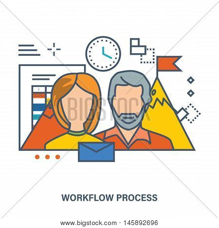 Concept of workflow process and teamwork - organization of the working process in office, striving for success. Color Line icons. Flat Vector illustration