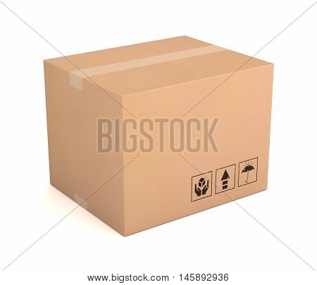 blank cardboard box 3d illustration isolated on white background