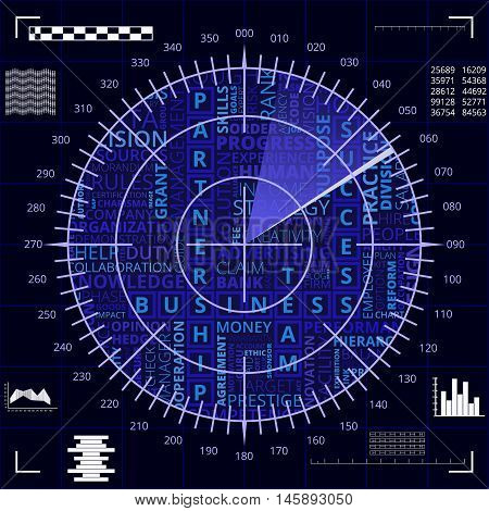 Radar screen with different business words of blue and white shades