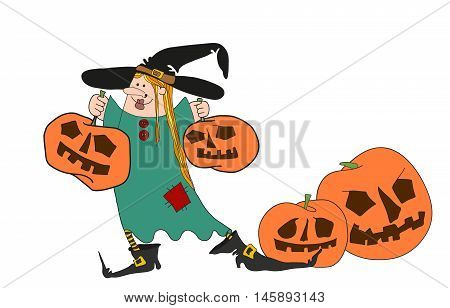 Halloween witch girl with funny pumpkins vector illustation