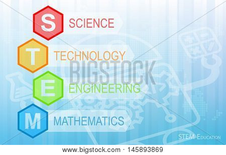 STEM Education Background. Science Technology Engineering Mathematics.