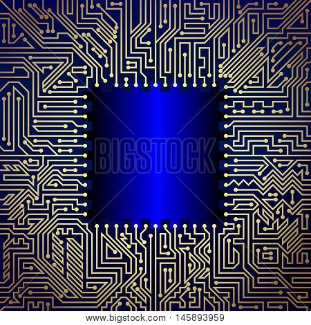 Technological background of motherboard with chip of golden and blue shades