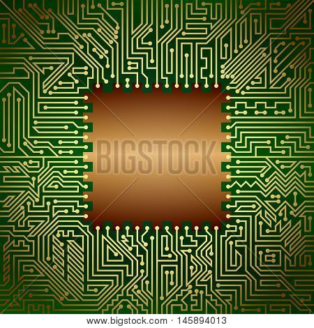 Computer motherboard background of golden bronze and green shades. Computer hardware technology