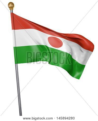 National flag for country of Niger isolated on white background, 3D rendering