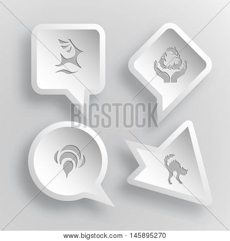 4 images: deer, protection sea life, bee, cat. Animal set. Paper stickers. Vector illustration icons.