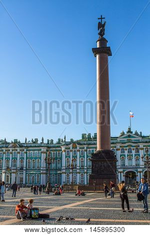 St.PETERSBURG, RUSSIA - AUG 31, 2016: Winter Palace and Alexander Column on Palace Square. The Winter Palace was from 1732 to 1917, the official residence of the Russian monarchs.