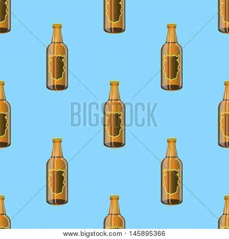 Brown Glass Beer Bottles Seamless Pattern on Blue Background.