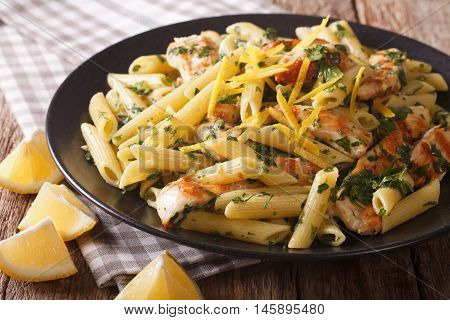 Penne Pasta With Pesto, Grilled Chicken And Lemon Closeup. Horizontal