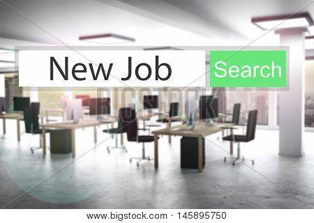websearch new job green search button modern office 3D Illustration