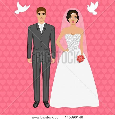 Vector illustration of a couple standing on the background of flying pigeons. Wedding concept. Bride and groom.
