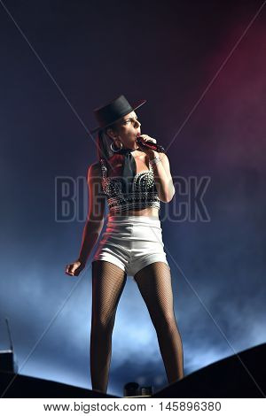 Woman Singer Cleo Panther From Parov Stelar Band Singing Live On Stage