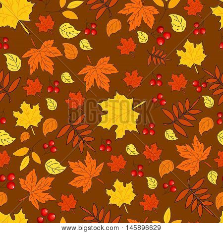 Pattern with autumn leaves on brown background. Seamless autumn pattern. Vector. Fabric for the fall collection. Autumn. Foliage