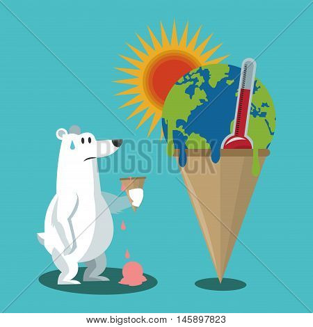 bear with planet ice cream and thermometer icon. Global warming nature and environment design. Vector illustration
