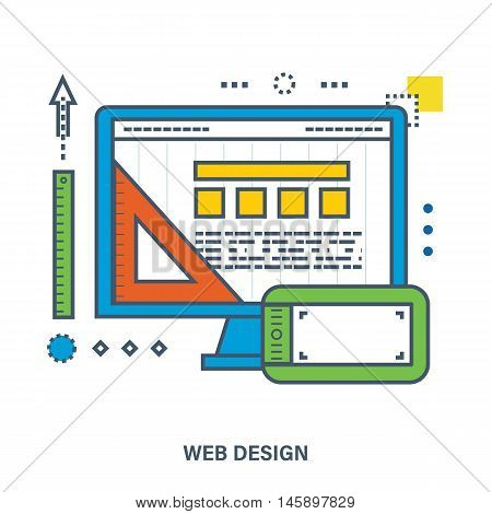 Concept of web design. Flat Vector illustration. Can be used for banner, business data, web design, brochure template.
