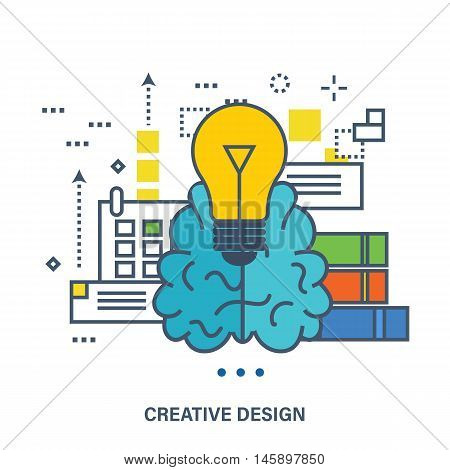Concept of creative design and brainstorming. Flat Vector illustration. Can be used for banner, business data, web design, brochure template.