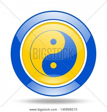 ying yang round glossy blue and yellow web icon