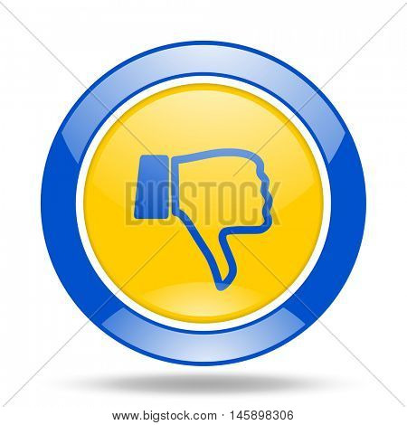 dislike round glossy blue and yellow web icon