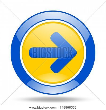 right arrow round glossy blue and yellow web icon