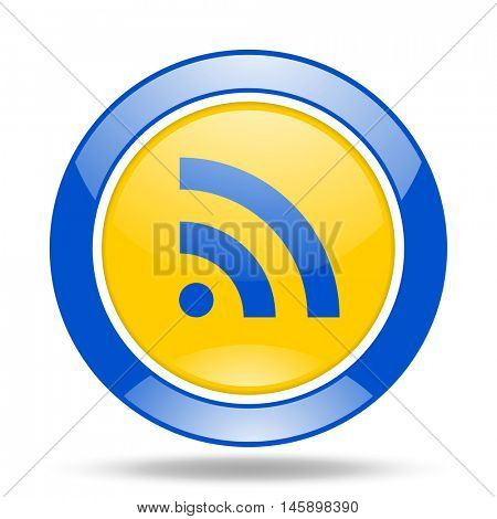 rss round glossy blue and yellow web icon