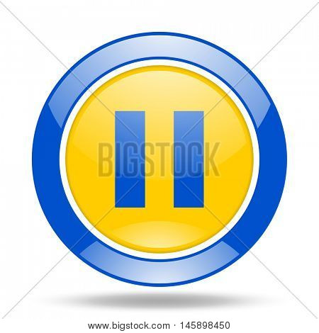 pause round glossy blue and yellow web icon