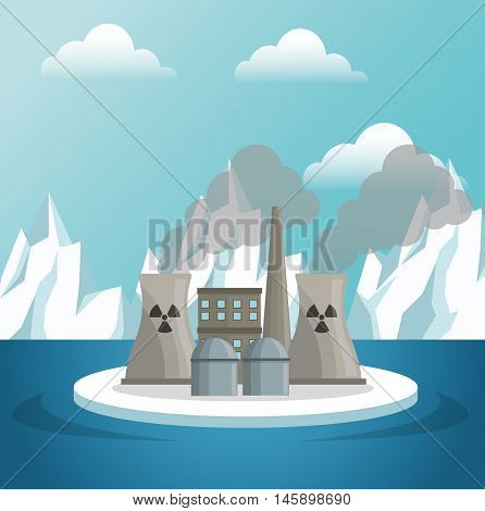 industry and icebergs icon. Global warming nature and environment design. Vector illustration