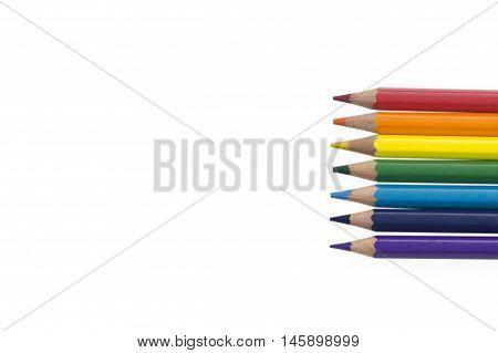 pencil background inline rainbow color horizontal seven