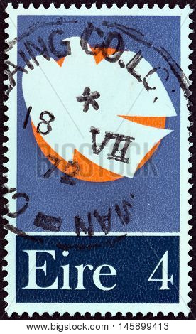IRELAND - CIRCA 1972: A stamp printed in Ireland issued for the Patriot Dead 1922-1923 shows Dove and Moon, circa 1972.
