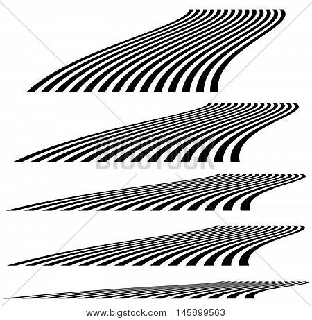 Lines In 3D Perspective. Vanishing Lines, Stripes With Distortion Effect.