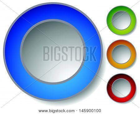 4 Color Clean Circle Buttons, Badges With Transparent Shadow